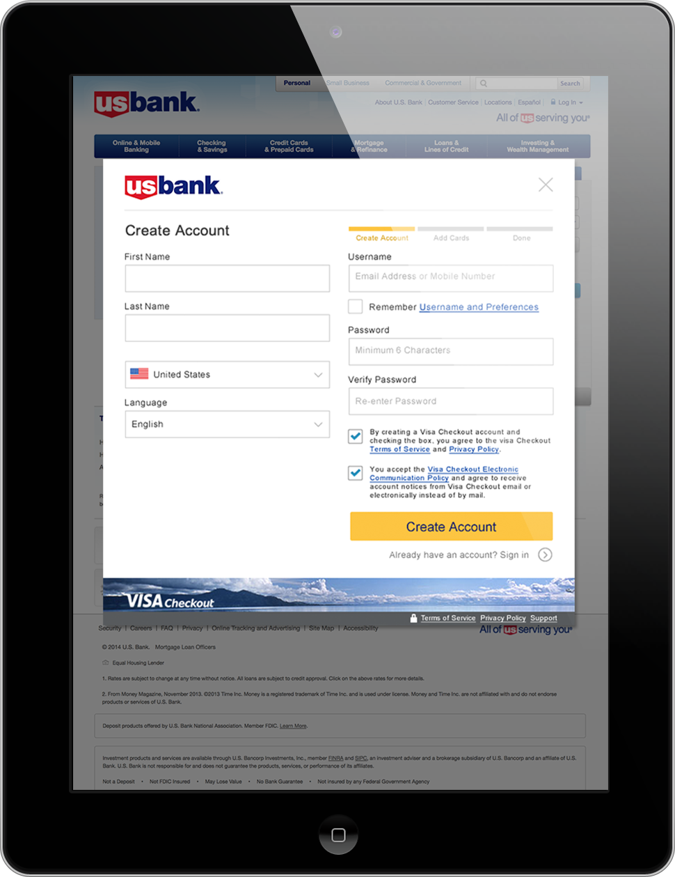 A tablet displaying a Visa Checkout enrollment form on the U.S. Bank website.