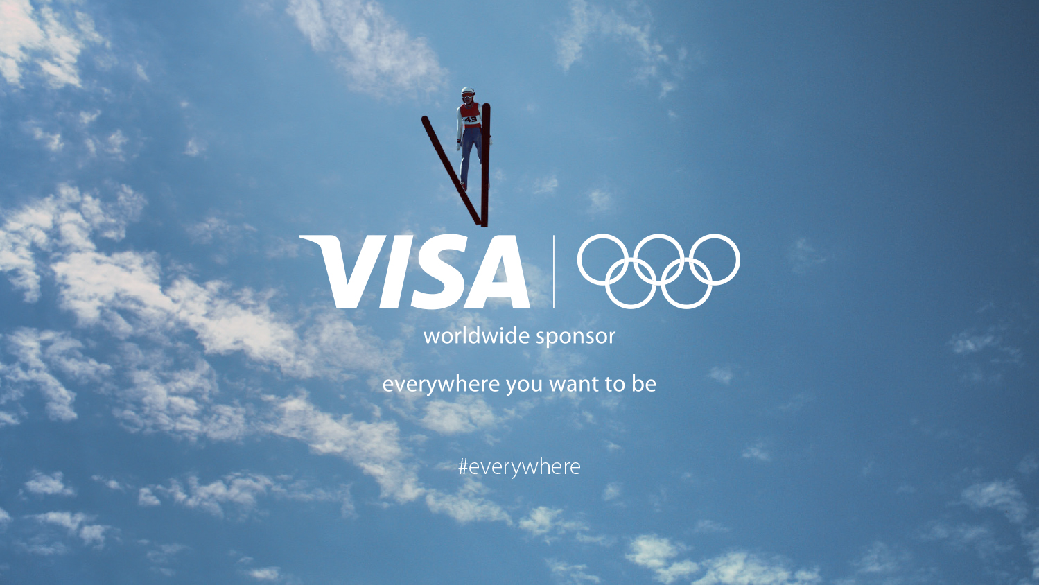 Skier mid jump in the air from below with the Visa and Olympics logo overlaid.