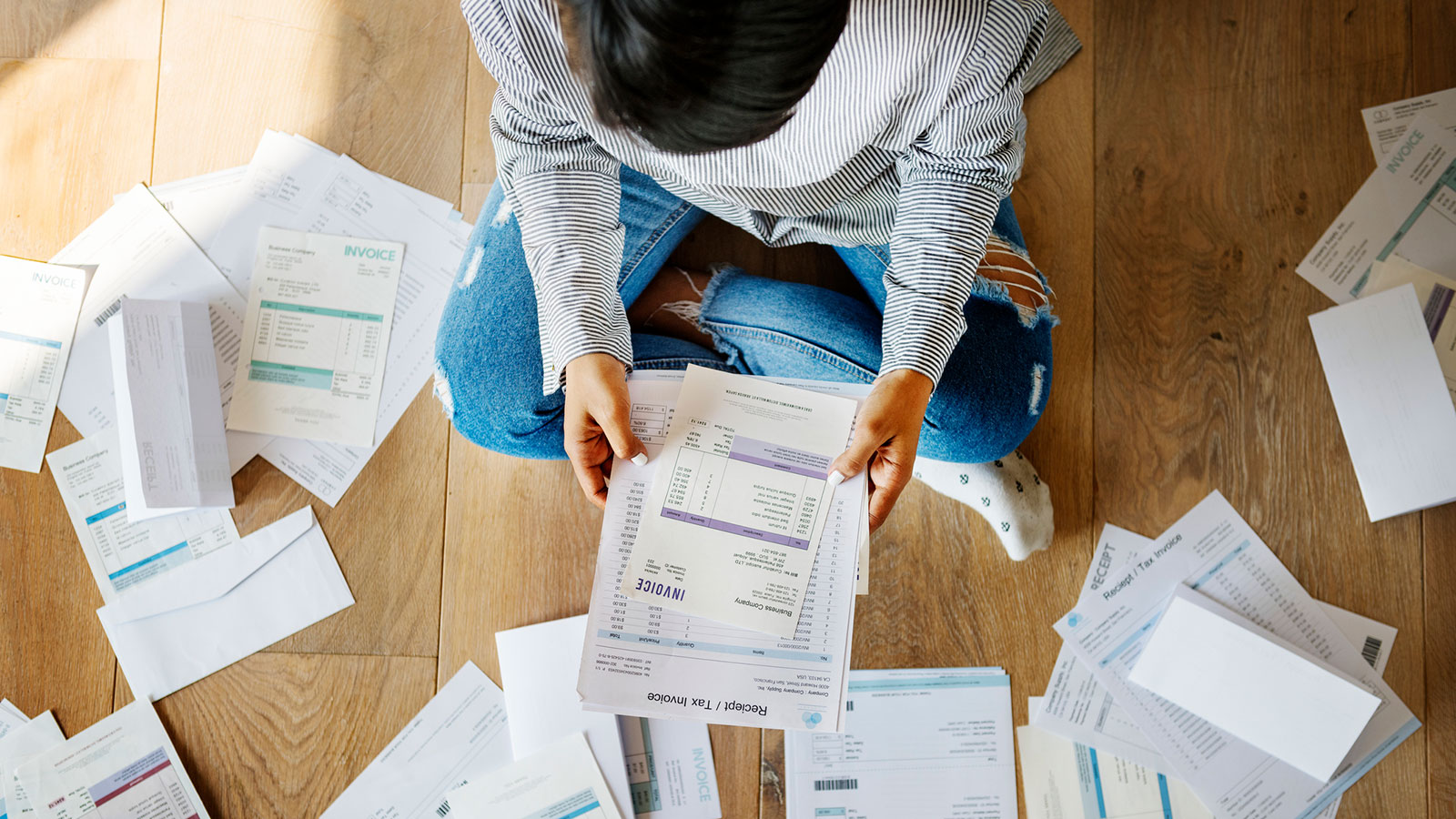 Sorting old receipts and invoices